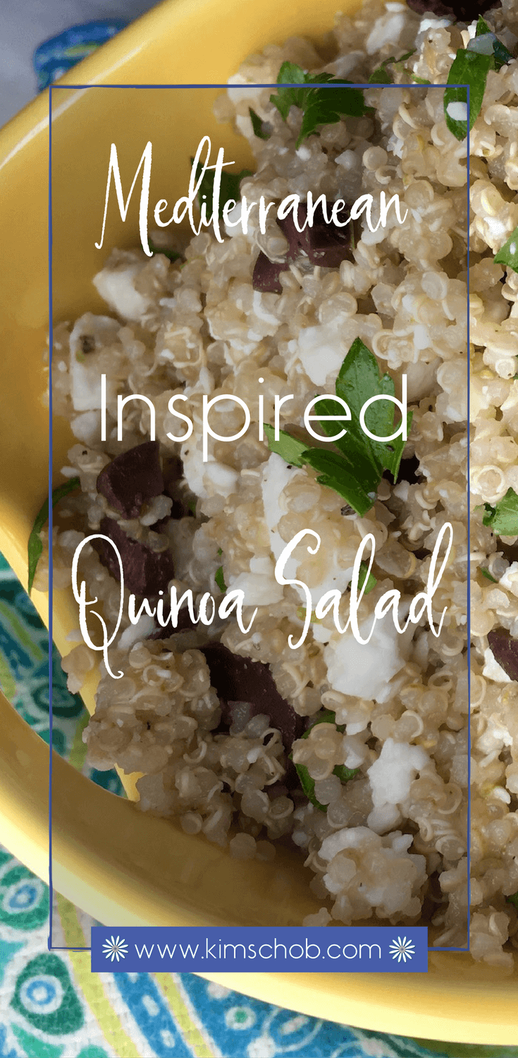 Easy side dish pairs the bold Mediterranean flavors of lime, Feta cheese, Kalamata olives, and fresh parsley against the subtle backdrop of quinoa | kimschob.com