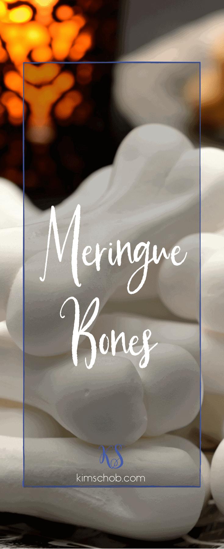 Halloween treats. Gluten-free treats. Meringue Cookies. #kimschob #meringuebones #halloween #meringue