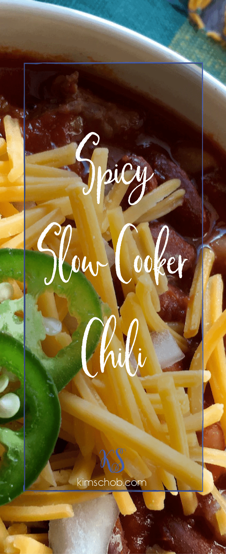 This spicy slow cooker chili gets a great boost of flavor by using a combination of spicy and sweet pork sausage want to turn it up go all spicy sausage| kimschob.com| #spicychili #slowcooker #crockpot