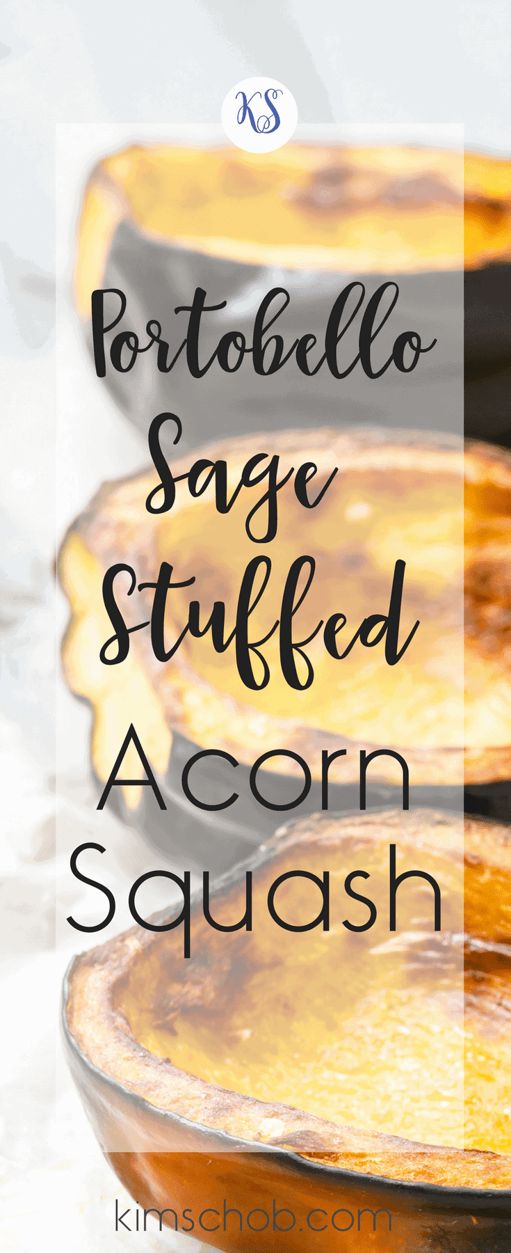 Portobello Sage-Stuffed Acorn Squash | on a plate stuffed with crisp pancetta bacon, rich Portobello mushrooms, sweet dates  | kimschob.com #sidedish #stuffedacornsquash