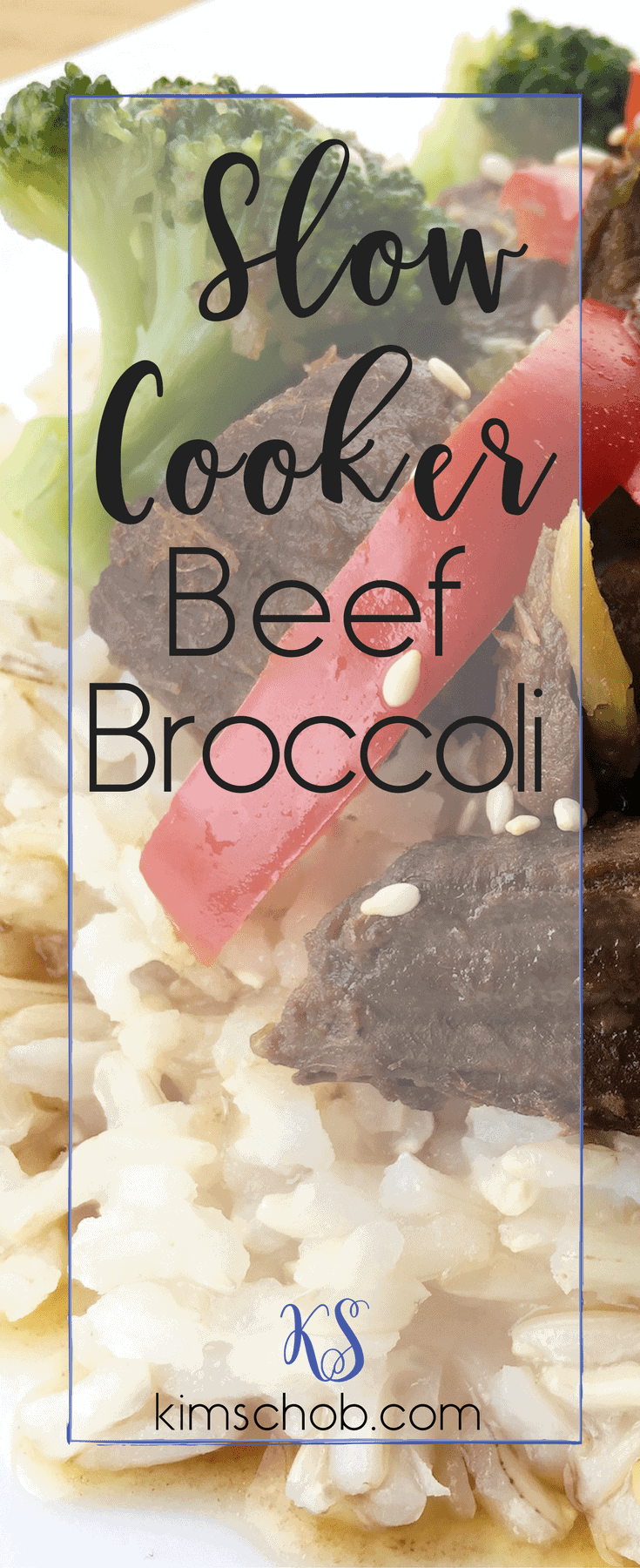 Slow Cooker Beef Broccoli | on a white plate, beef, bell peppers and broccoli florets over brown rice | kimschob.com | #easydinner #kimschob
