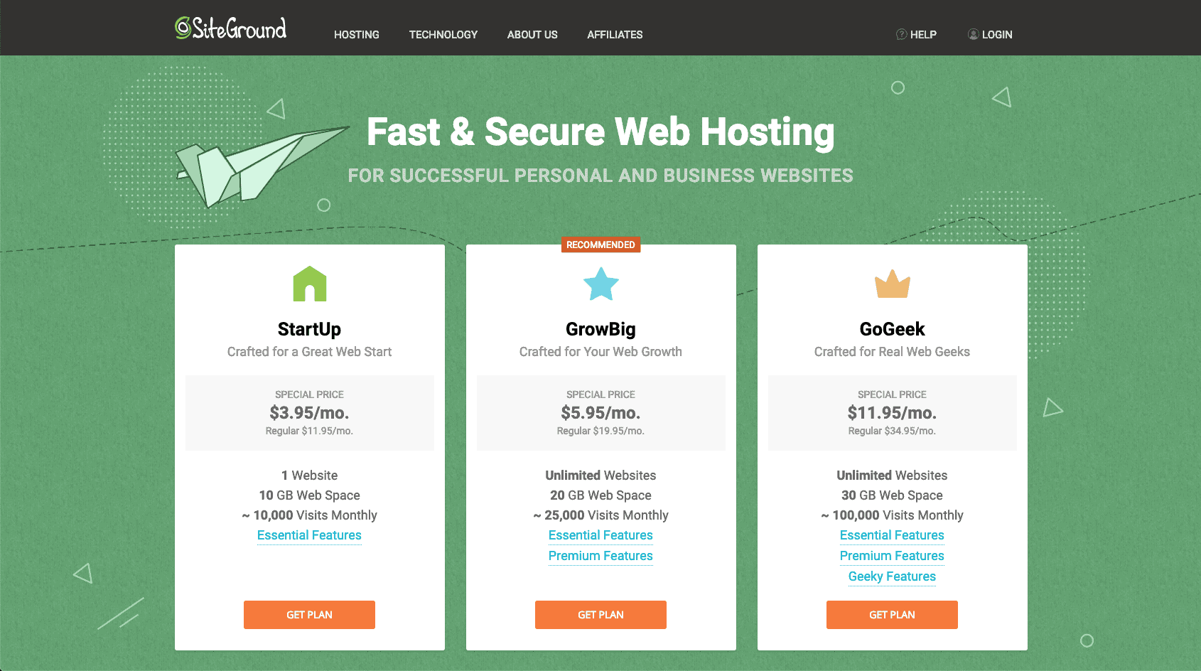 SiteGround web hosting plan step 1 | kimschob.com