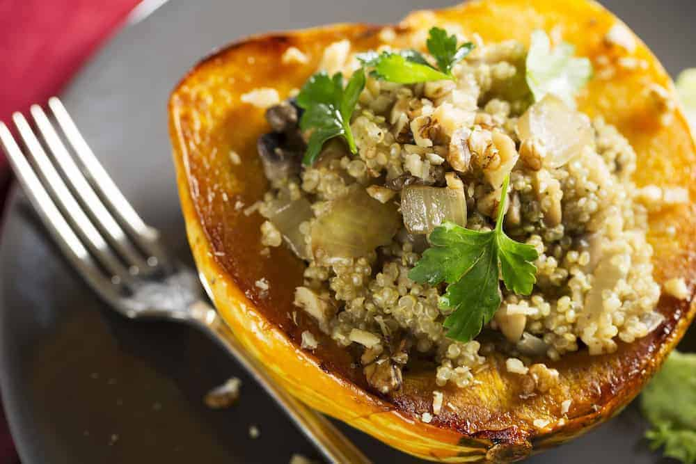 portobello sage stuffed acorn squash thanksgiving side dish | kimschob.com