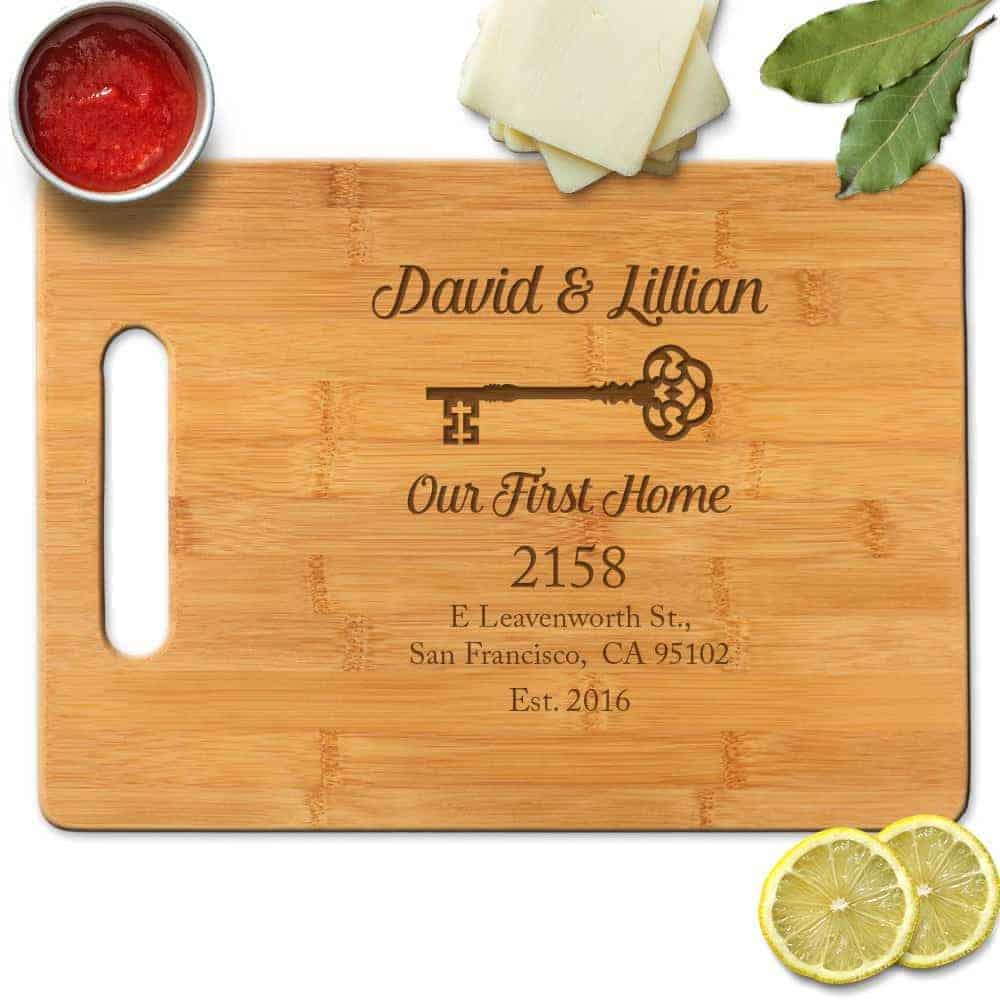 Our first home address engraved custom cutting board gift homeowner | kimschob.com