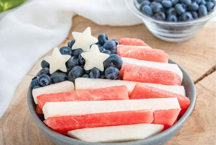 Fourth of July Watermelon Blueberry Salad | kimschob.com